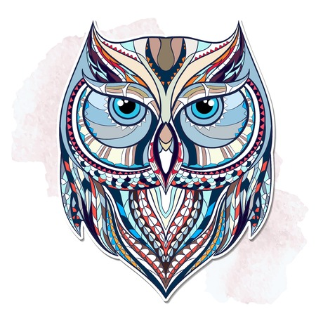 Patterned owl on the grunge background. African indian totem tattoo design. It may be used for design of a t-shirt, bag, postcard, a poster and so on. Vettoriali