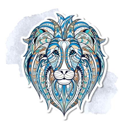 totem indiano: Patterned testa di leone sullo sfondo del grunge. Africano indiano disegno totem tatuaggio. Pu� essere usato per la progettazione di una maglietta, sacchetto, cartolina, un poster e cos� via.