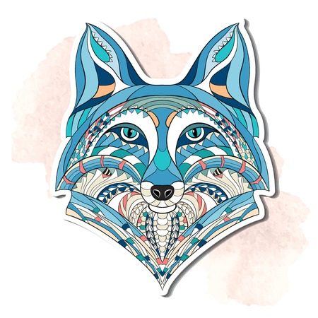 Patterned head of the fox on the grunge background. African indian totem tattoo design. It may be used for design of a t-shirt, bag, postcard, a poster and so on. Vettoriali