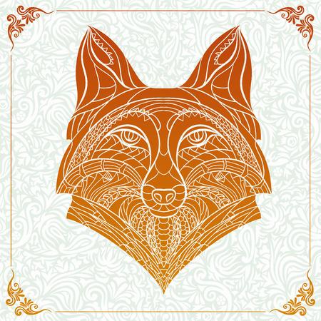 totem indiano: Modellata capo della volpe sullo sfondo floreale. Africano indiano disegno totem tatuaggio. Pu� essere usato per la progettazione di una maglietta, sacchetto, cartolina, un poster e cos� via.