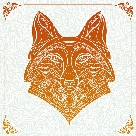 vintage illustration: Patterned head of the fox on the floral background. African indian totem tattoo design. It may be used for design of a t-shirt, bag, postcard, a poster and so on. Illustration