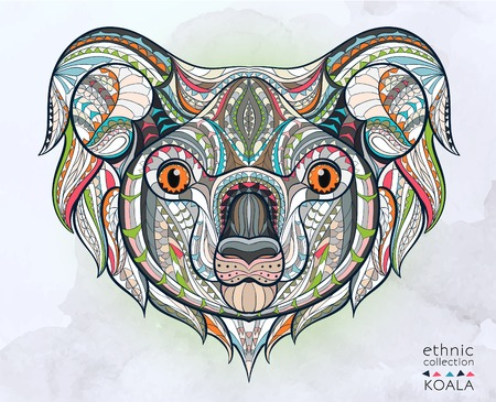Ethnic patterned head of koala on the grange background african indian totem tattoo design Çizim