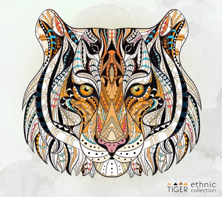 Patterned head of the tiger on the grunge background. African indian totem tattoo design. It may be used for design of a t-shirt, bag, postcard, a poster and so on. 일러스트