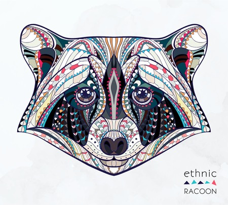 Ethnic patterned head of raccoon on the grange background african indian totem tattoo design