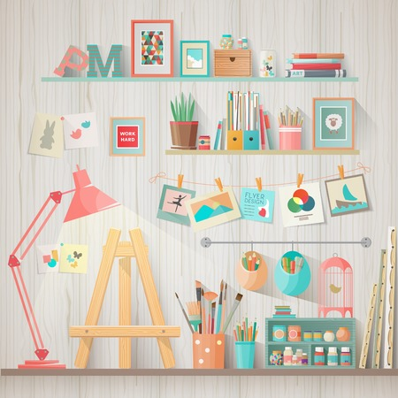 Werk plaats van designer-illustrator en kunstenaar met tekenen schildersezel en vele andere artistieke materialen. -Art werkproces. Platte ontwerp vector illustratie Stock Illustratie