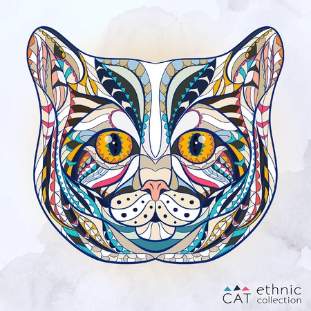 Ethnic patterned head of cat on the grange background african indian totem tattoo design Illustration