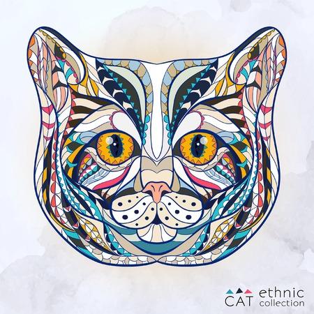 totem indien: Tête à motif ethnique de chat sur le fond grange de conception de tatouage totem indien Noir Illustration