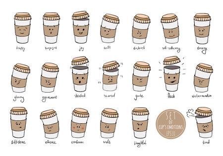 expresiones faciales: Conjunto de emociones expresiones facial de taza