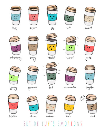 guile: Set of facial expressions cups emotions Illustration