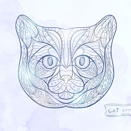 tattoo design: Ethnic patterned head of cat on the grange background african indian totem tattoo design Illustration