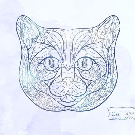 totem indiano: Etnica testa fantasia di gatto su sfondo grange disegno africano totem tatuaggio indiano