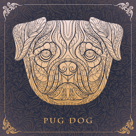 tattoo design: Ethnic patterned head of pug-dog on the floral background african indian totem tattoo design Illustration