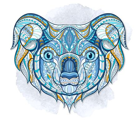 totem indiano: Etnica testa modellata del koala sullo sfondo grange disegno africano totem tatuaggio indiano