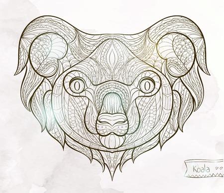 totem indien: Tête à motif ethnique de koala sur la grange fond conception de tatouage totem indien Noir Illustration