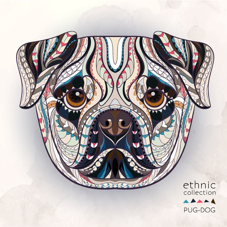 Ethnic patterned head of pug-dog on the watercolor background african indian totem tattoo design