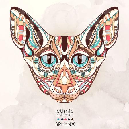totem indiano: Capo fantasia del gatto sullo sfondo del grunge. Africano indiano disegno totem tatuaggio. Pu� essere usato per la progettazione di una maglietta, sacchetto, cartolina, un poster e cos� via.