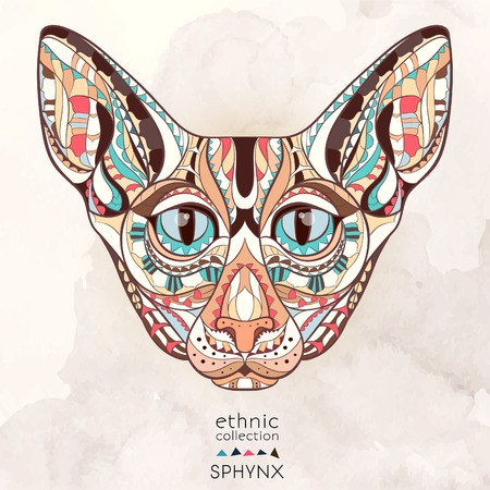 so: Patterned head of the cat on the grunge background. African indian totem tattoo design. It may be used for design of a t-shirt, bag, postcard, a poster and so on.