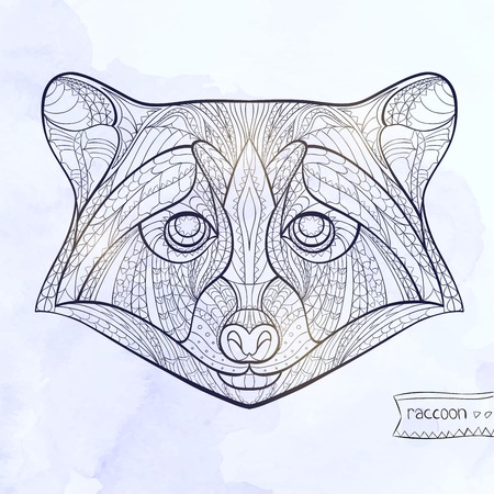 indian tattoo: Ethnic patterned head of raccoon on the grange background african indian totem tattoo design
