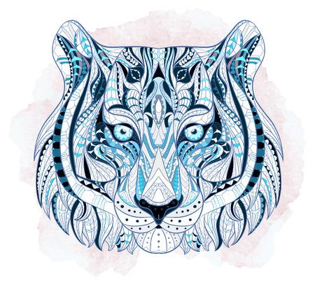 totem indiano: Capo Patterned della tigre su sfondo grunge. Africano  disegno  totem  tatuaggio indiano. Pu� essere usato per la progettazione di una maglietta, sacchetto, cartolina, un poster e cos� via. Vettoriali