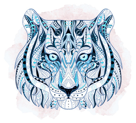 Patterned head of the tiger on the grunge background. African  indian  totem  tattoo design. It may be used for design of a t-shirt, bag, postcard, a poster and so on.