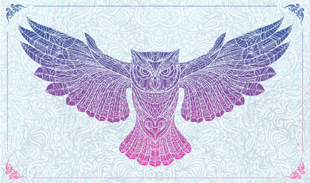 Patterned owl  on the floral background.  It may be used for design of a t-shirt, bag, postcard, a poster and so on.