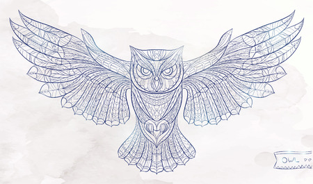 Patterned owl on the grunge watercolor background. African  indian  totem  tattoo design. It may be used for design of a t-shirt, bag, postcard, a poster and so on.