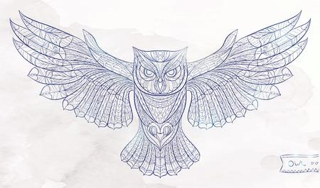 sowa: Wzorzyste sowa na tle grunge akwareli. Afrykański  indian design  Totem  tatuaż. Może być stosowany do projektowania t-shirt, torba, pocztówka, plakat i tak dalej.