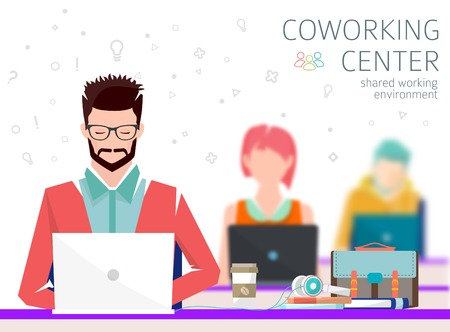 Concept of the coworking center. Shared working environment. People talking and working  at the computers in the open space office. Flat design style.