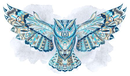Búho con dibujos en el fondo del grunge de la acuarela. Diseño / totem / tatuaje de África / India. Puede ser utilizado para el diseño de una camiseta, bolso, tarjeta postal, un cartel y así sucesivamente. Foto de archivo - 44179464