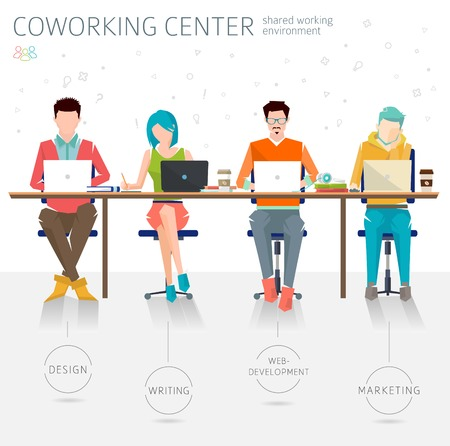 Concept of the coworking center. Shared working environment. Various people talking and working at the computers in the open space office. Different professions are united. Flat design style.