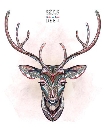 �deer: Cabeza de ciervo con dibujos en el fondo de la acuarela. Dise�o  totem  tatuaje de �frica  India. Puede ser utilizado para el dise�o de una camiseta, bolso, tarjeta postal, un cartel y as� sucesivamente.