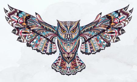 animals: Gemusterte Eule auf dem Grunge Aquarellhintergrund. African  indisches  totem  Tattoo-Design. Es kann für die Gestaltung von einem T-Shirt, Tasche, Postkarte, einem Poster und so weiter verwendet werden.
