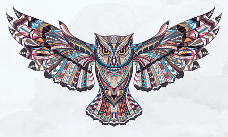 drawing: Patterned owl on the grunge watercolor background. African  indian  totem  tattoo design. It may be used for design of a t-shirt, bag, postcard, a poster and so on.