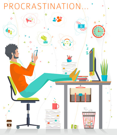 boring: Concept of procrastination. Worker shelves his business. Flat vector illustration.