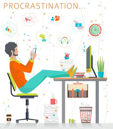 shelve: Concept of procrastination. Worker shelves his business. Flat vector illustration.