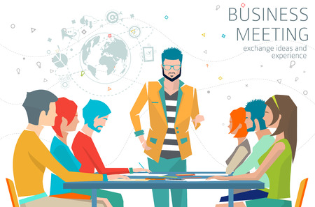 Concept of business meeting / leadership / exchange ideas and experience / coworking people / collaboration and discussion / vector illustration Çizim