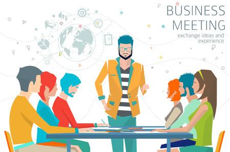Concept van zakelijke bijeenkomst  leiderschap  ideeën uit te wisselen en ervaringen  coworking mensen  samenwerking en discussie  vector illustratie Stock Illustratie