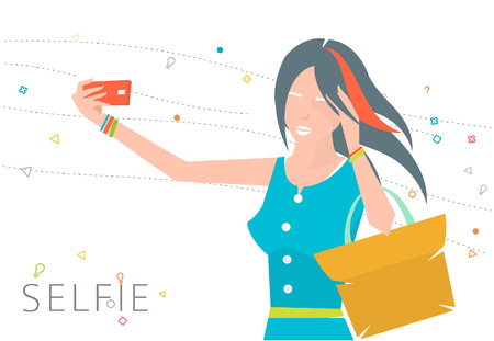 smart phone woman: Concept of taking selfie photo on smart phone   young woman is making photo   vector illustration