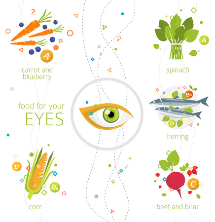Concept of food and vitamins, which are healthy for your eyes / vector illustration / flat style Çizim