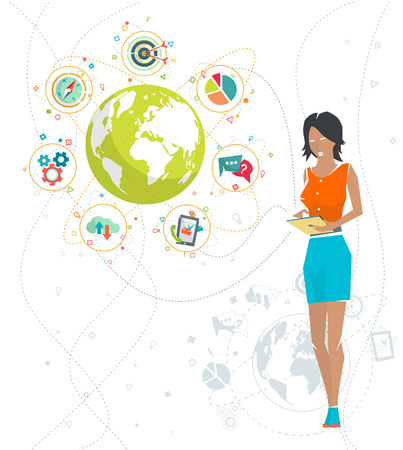 Global business concept. Communication in the global networks. Multitasking in business. Long-distance administration and management. Concept of social media network.  Vector illustration. Imagens - 44179692