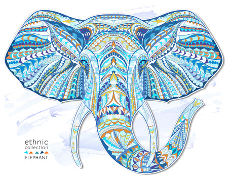 Ethnic patterned head of elephant on the grange background african  indian  totem  tattoo design. Use for print, posters, t-shirts.
