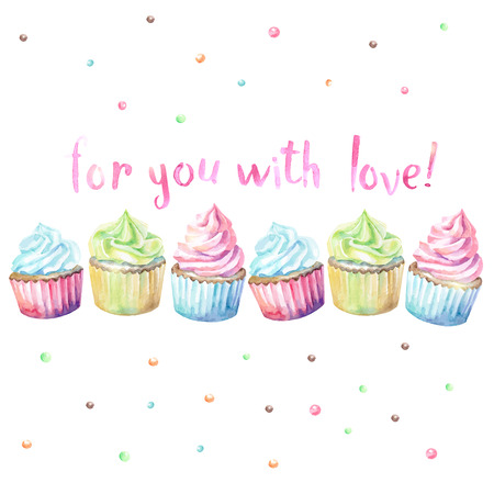 Sweet delicious watercolor cupcakes with typography. Wish card. For you with love. Çizim