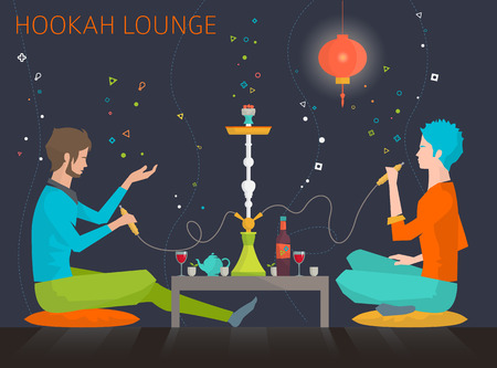 recreation rooms: Young people are sitting around table in hookah lounge and telling stories. Weekend and recreation. Flat vector illustration.