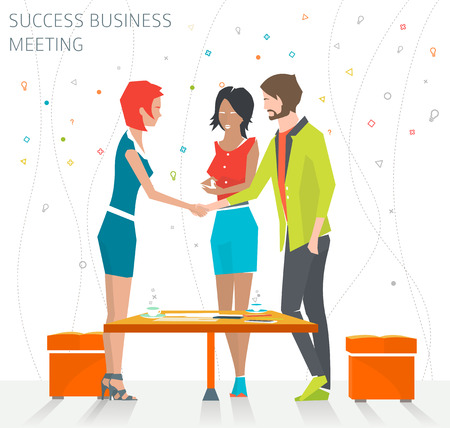 business people shaking hands: Concept of success business meeting  handshake  good deal   vector illustration Illustration