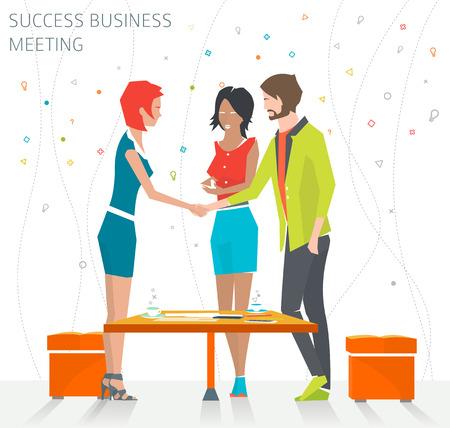 Concept van het succes zakelijke bijeenkomst  handdruk  goede deal  vector illustratie