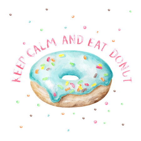 fudge: Sweet delicious watercolor blue donut with typography. Wish card. Keep calm and eat donut. Illustration