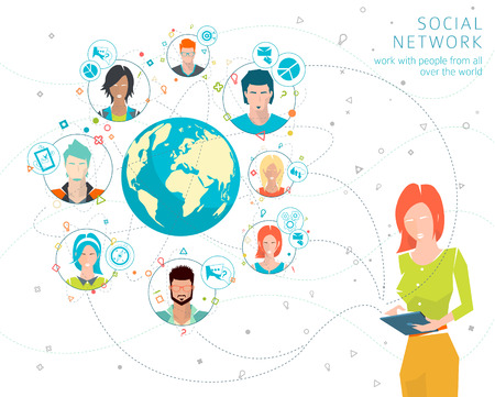 Global business concept. Communication in the global networks. Multitasking in business. Long-distance administration and management. Concept of social media network.  Vector illustration. Stock Illustratie