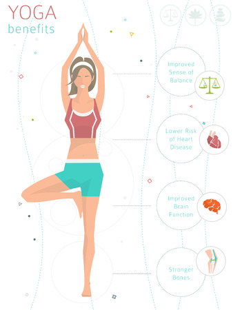 Concept of healthy lifestyle / benefits of yoga / young woman practices yoga / yoga meditation / Vriksasana / Tree pose / vector illustration / flat style Çizim