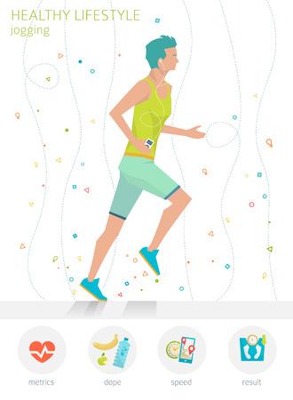 健康的なライフ スタイルのコンセプトです。若い男をジョギングします。実行しています。