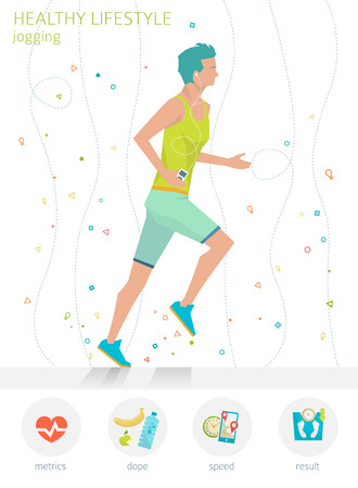 metrics: Concept of healthy lifestyle. Young man is jogging. Running.